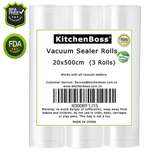 Rotoli per Alimenti, Rotoli Sacchetti goffrati , sacchetti per sottovuoto 3 rotoli 20x500cm, Approvazione FDA e BPA liberi-kitchenboss