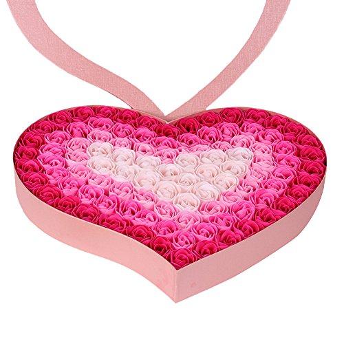TININNA 100 Stück handgemachtes künstliches Rosenseifen Blumen Bad Seifen Rosen Blumenblatt im Herz Form Kasten kreatives Geschenk für Valentinstag Geburtstag (Rosa) (Blumen-seife)