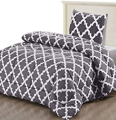Utopia Bedding Bettdecke - Sommerdecke mit Kissenbezug - Leichte Bettdecke (540g Füllung) - (135 x 200 cm, Grau)
