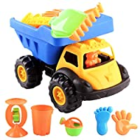 deAO Dumper Truck Beach Toy Playset Sand and Water Play for Kids Bucket, Shovel, Rake and More Accessories Included in Set