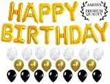 #2: AMFIN® (16 inch) Happy Birthday Letter Foil Balloons/Birthday Party Supplies/Happy Birthday Balloons for Party Decoration Combo - Golden