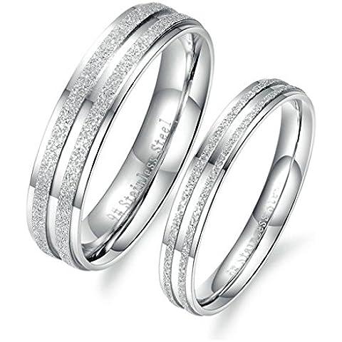 Bishilin Acciaio Inossidabile Opaco Lucido Moda Anello di Fidanzamento per Lei Lui Valentino's Gift 1 Pair - Anello Lucido