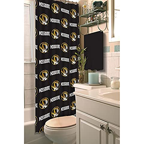 Northwest 1COL903000009RET Ncaa Missouri Tigers Shower Curtain x, Black, 72 Inches x 72 Inches