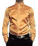 Renzo Herren Designer Glanz Hemd Bügelfrei Gold Größe M 40