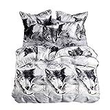 2 / 3pcs Juego de ropa de cama Juego de sábanas de impresión de 3D Ropa de cama de lobo Juego...