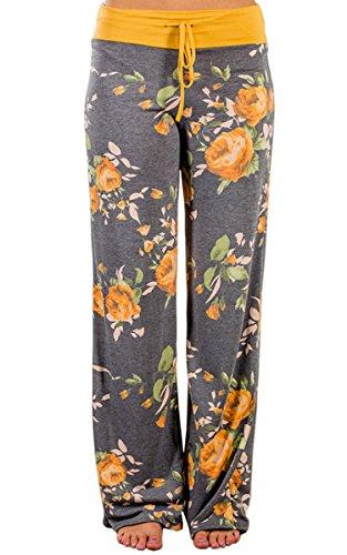 Angashion Damen Blumenmuster Weite Bein Lange Hose Gelb L