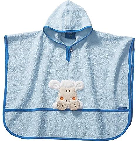 Morgenstern, hochwertiger Frottee - Bade - Poncho aus 100 % Baumwolle, Farbe blau Motiv Schaf, Größe one size (ca. 1 bis 3 Jahre)