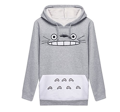 CTOOO Damen Kapuzen-Sweatshirt Totoro Cartoon Gedruckt Langarm-Kapuzen Jackenmantel Und Kapuzenpullover Frauen