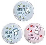 dabelino Button-Set: 1x Kleiner Bruder/ 1x Großer Bruder/ 1x Große Schwester (Ø31mm, Anstecker/ Pin)