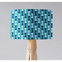 Pantalla de lámpara turquesa con diseño de kilim triangular azul y gris, lámpara de sobremesa o plafón.