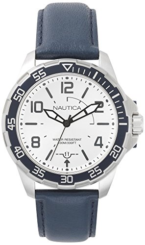 Nautica Herren Analog Quarz Uhr mit Leder Armband NAPPLH002