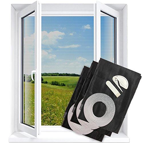 Fenster Fliegengitter zuschneidbar für alle Fenster bis 130x150 cm, Fliegennetz Gitter, Schutz vor Insekten wie Fliegen und Mücken | 3er Pack - durchsichtig | Insektenschutz Fliegenschutz Netz