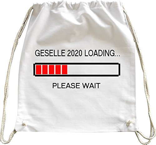Mister Merchandise Turnbeutel natur Rucksack Geselle 2020 Loading Ausbildung Handwerk Beutel Tasche Weiß (Handwerks-taschen Weiße)
