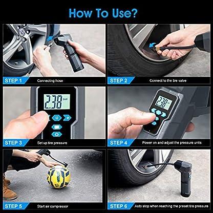 SUAOKI Mini Compresor de Aire portátil batería Recargable, Bomba inflador 120PSI, 2,000mAh 12V, Banco de energía, con 4 adaptadores de Boquilla, Pantalla LED Digital para Bicicleta, automóvil