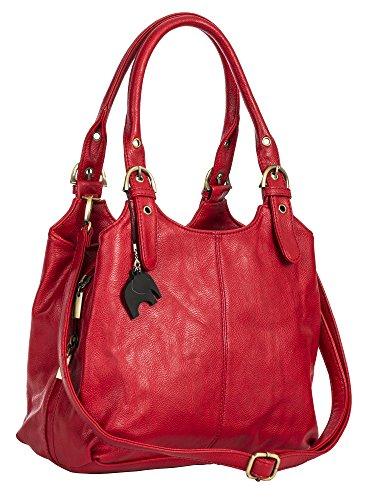 BHSL Mehrfachtaschen Mittlere Größe Umhängetasche - Mit Branded Schutztasche und Charm 27x24x12 cm (BxHxT) (Rote Handtasche)