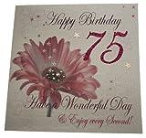 WHITE COTTON CARDS Alter 75Handmade Geburtstagskarte Blumen, Weiß