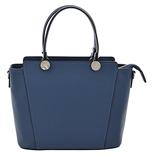 ADRIANA Top-Handle Bag Tote Handbags Women's Genuine Leather Made in Italy Handcraft-blue
