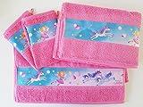 Prinzessin Lillifee Set, 1x Kinderduschtuch 70x130 cm, 2x Kinderhandtuch 50x80cm, 2x Kinderwaschhandschuh 17x23cm rosa mit schöner Bordüre