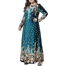 BESBOMIG Mujer Elegancia Maxi Vestido Holgado Vestido Musulmanes Batas Partido Vestidos - Manga Larga Kaftan Dubai
