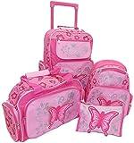 STEFANO Kinder Reisegepäck Schmetterling pink rosa --präsentiert von RabamtaGO®-- (Set 4 teilig)