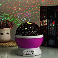XFH 12 Soft Musical projector lamp with soft lights LED Moon Sky Star Dreamer Desk Rotating Cosmos Starlight Projector for Children Kids Baby Bedroom Christmas Light Projector Pink from XFH