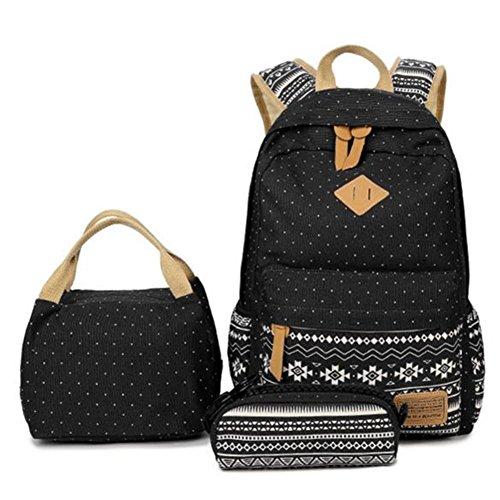 Zaino scuola, supstar zaino casual kit 3 in 1 tela zaini ragazza / donna + borsa per il pranzo + astuccio (nero)