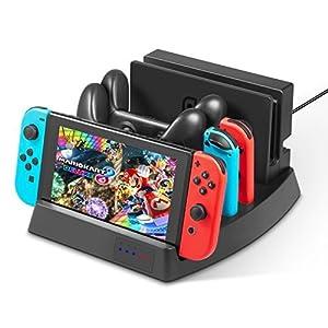 Nintendo Switch Ladestation – Younik vertikale Ladehalterung Ladestation mit LED Anzeige & USB Typ C Kable für die Nintendo Switch Konsole, Joy-Con Controller & Switch Pro Controller