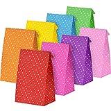24 Stück Party Taschen Geschenk Punkt Papiertüten Einkaufstüten Handwerk Papiertüten Mittagessen Flachboden Papiertüten