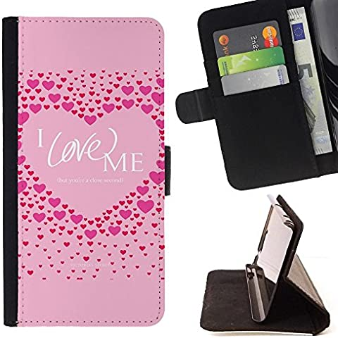For Sony Xperia Z5 (5.2 Inch) / Xperia Z5 Dual (Not for Z5 Premium 5.5 Inch) Case , Pink Love Me Cuore Citazione Inspirational - Portafoglio in pelle della Carta di Credito fessure PU Holster Cover in pelle case - Inspirational Cuore