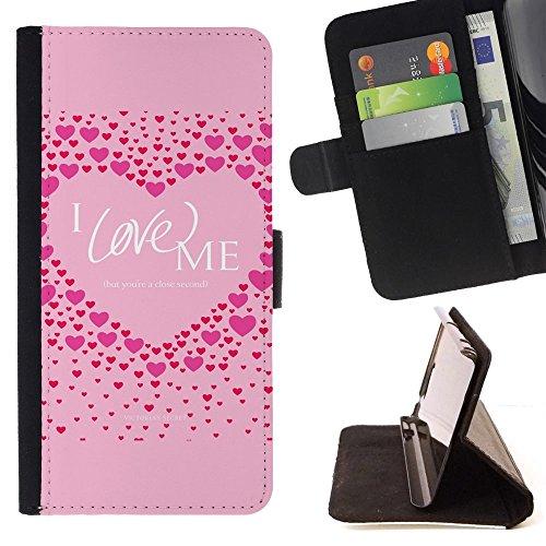 For HTC One Mini 2 M8 MINI Case , Pink Love Me Cuore Citazione Inspirational - Portafoglio in pelle della Carta di Credito fessure PU Holster Cover in pelle case - Inspirational Cuore