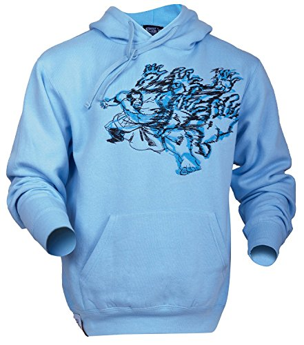 Street Fighter Offizielles Edmond Honda Bestickt Sumo Blau Designer Casual Jungen Herren Baumwolle Hood Sweatshirt Hoodie, Blau, P1EHOHS