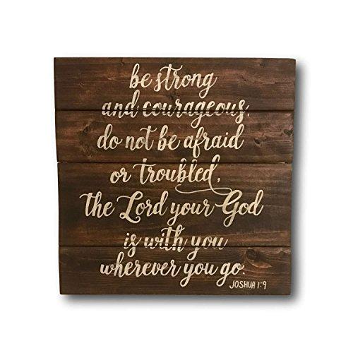 Plaque Sign Wandschild Be Strong und Mutiges Zeichen Bibel Vers Holz Schild Joshua 19Wand aufhängen