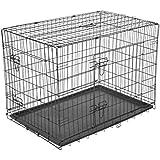 PawHut 5663-1299L Transport / Drahtkäfig Hunde / Reisebox, L, schwarz