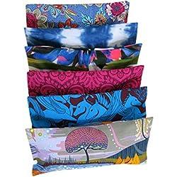 Yoga Almohada de Ojos - Paquete de (6) - 12 xc 23 cm - Lavanda Manzanilla Orgánica de lino - suave y calmante de algodón - extraíble funda lavable - Masaje Meditación Relajación del sueño - colores múltiples patrones