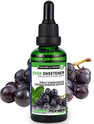 Liquid Grape Flavor (ALPHAPOWER FOOD® Stevia Flavour Drops, Vegan, flüssig - liquid 1x50ml Aroma Traube, Lebensmittel flavor Konzentrat & Geschmackstropfen - Flave Tropfen ohne Zucker, Flavdrops zum Essen & Backen)