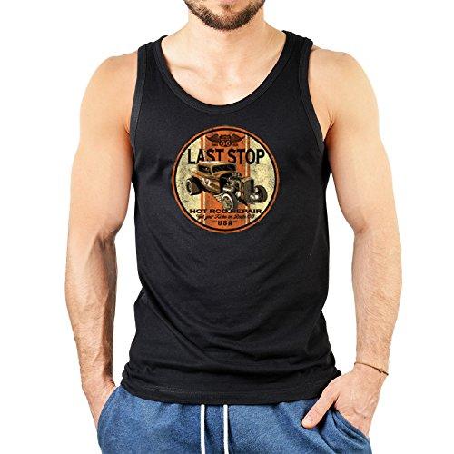 super Figur mit coolem Herren Tank-Top Farbe: schwarz : + LAST STOP + Schwarz