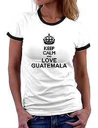 Teeburon Keep calm and love Guatemala Camiseta Ringer Mujer