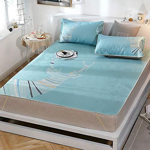 OUDA.ach Matratze Topper, 2 oder 3 Stück Klappbettmatte Sommerkühlung Jacquard Sommer Schlafmatte Kit für Erwachsene Kinder (Bettbezug Kissenbezug) Twin/Queen/King -