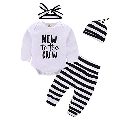 Baby Girl Boy Clothe Set New to The Crew Print Long Sleeve Romper + Striped Pants+Hat 3pcs Outfits (6-12 Months, A)