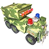 Kotak Sales Kids Missile Rockets Chariots 360D Rotation Army Truck Car Vehicle Light Remote Control Rechargeable Batteries Toy Game (10 Inch Size)