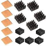 Easycargo 15stk Raspberry Pi Kühlkörper Set, Aluminium + Kupfer + 3 M 8810 Wärmeleitkleber Klebeband für Raspberry Pi 3B+, 3B, Pi 2, Pi Modell B + (15stk)