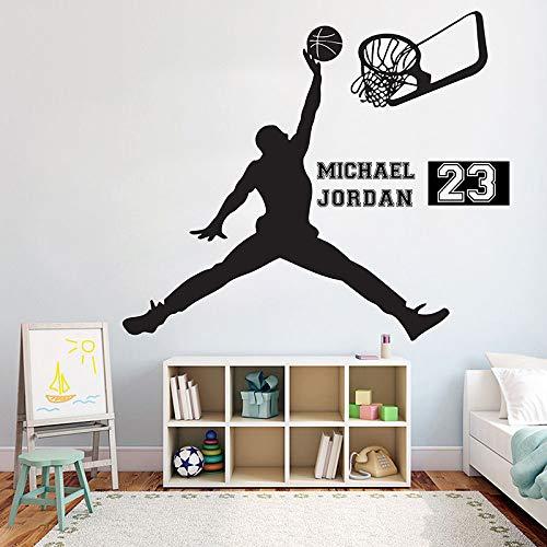 Jugador de baloncesto Vinilo Adhesivo de pared Habitación para niños Nombre personalizado personalizado Calcomanía extraíble Decoración del hogar del dormitorio A 114 * 134 cm
