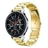 Hunpta@ Uhrenarmband für amsung Galaxy Watch 46mm Luxus Edelstahl Uhrenarmband Ersatzarmband (Gold)