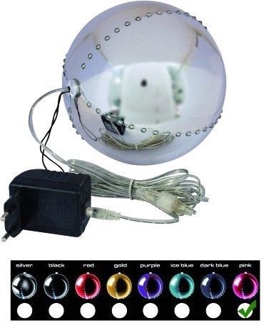LED Snowball 15cm, rosa