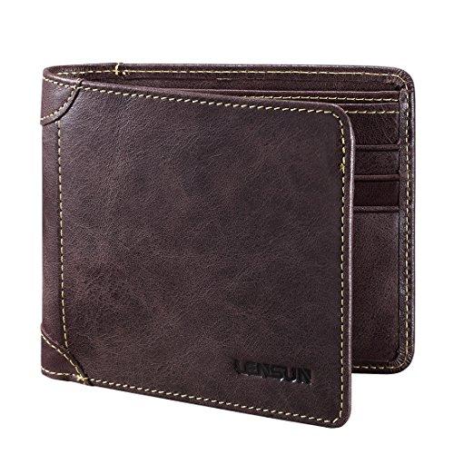 Herren Leder Geldbörse, Lensun Echte Rindsleder Portemonnaie für Männer, als Geschenk verpackt, Dunkelbraun (QB-LZH-DB) (- Brown-leder-gefaltete Geldbörse)