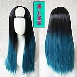 WIAGHUAS U-Typ Perücke Weibliches langes Haar Gerades Haar unsichtbares nahtloses Haarteil Natürliches und realistisches Mode-blaues Steigungs-Haar-Farbsatz,Pfaublau Steigung