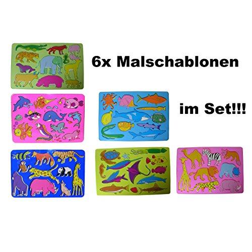6x Kinder Zeichenschablone Malschablone Stencil Unterwasserwelt Land Zoo Tiere