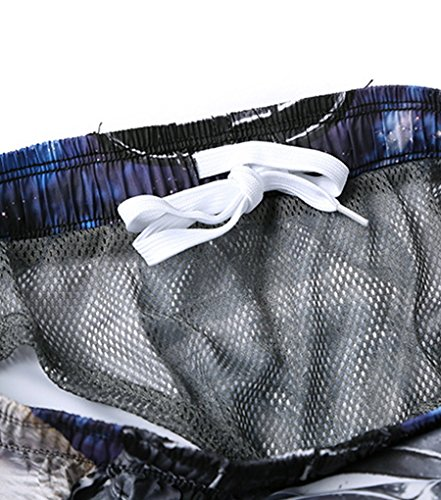 NiSeng Homme Casual Boardshorts 3D Impression Numérique Surf Shorts Plage Pantalon à Séchage Rapide 04