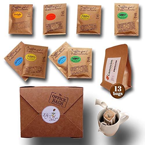 Life is You! BagBox ❤ 13 Coffee Bags (für Becher) aus 5 Fincas der Welt   frisch handgerösteter Filterkaffee zum Aufbrühen  100% Arabica, Probierset & Schönes Kaffee Geschenk aus