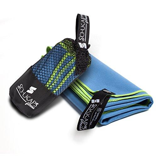 Serviettes de voyage en Microfibre 80x40cm Bleu - Séchage rapide, super absorbant, anti-bactérien et léger. Pour la plage, piscine, gym, yoga, camping, salle de fitness, sports - Microfiber Antibacterial Travel Towel 80x40cm Blue | Schukaps Fitness |